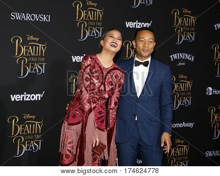 Chrissy Teigen and John Legend at the Los Angeles premiere of 'Beauty And The Beast' held at the El Capitan Theatre in Hollywood, USA on March 2, 2017.