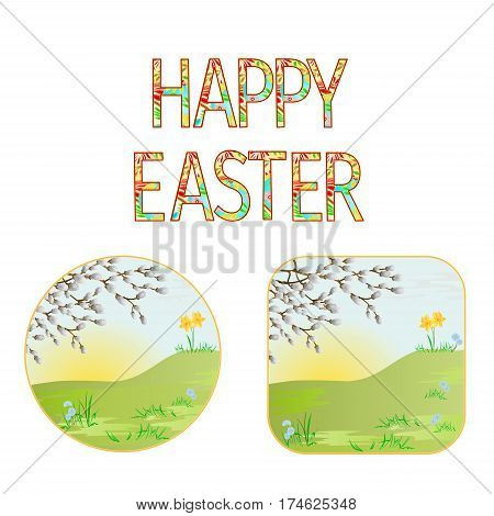 Buttons Happy easter spring meadow with willow vintage illustration