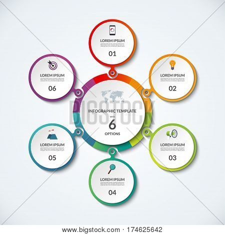 Infographic banner with 6 options. Circular template that can be used as round chart, cycle diagram, graph, workflow layout