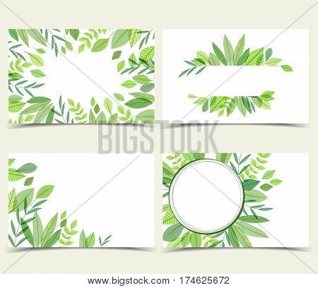 Set Vector natural business cards. Decorations green leaves
