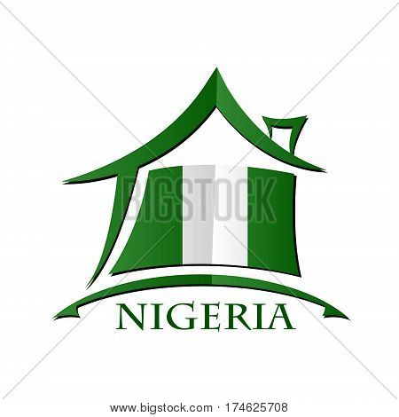 House icon made from the flag of Nigeria