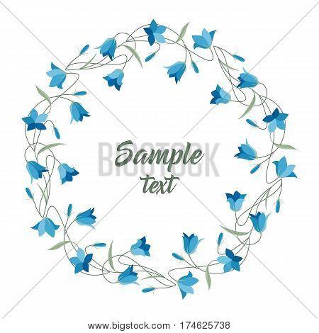 Vector illustration blue bell-shaped flowers. Frame Summer flowers Campanula