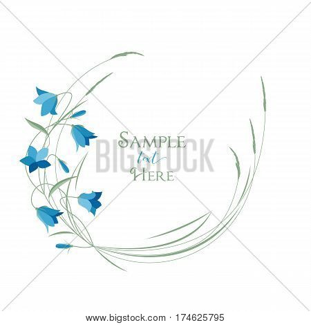 Vector illustration blue bell-shaped flowers in the grass. Frame Summer flowers Campanula