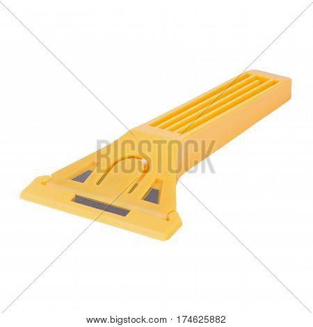 yellow plastic scrapper with metal blade isolated