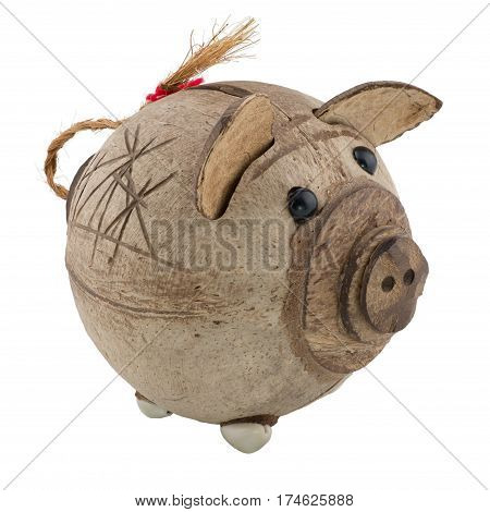 brown handcrafted piggy bank souvenir isolated white