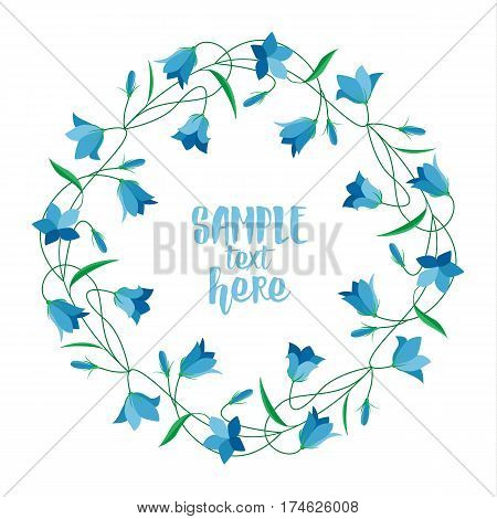 Vector illustration blue bell-shaped flowers. Frame Summer flowers Campanula