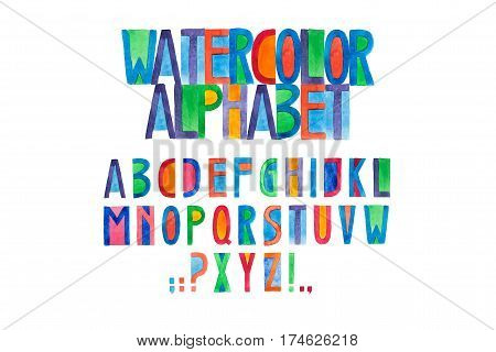 Aquarelle font hand drawn alphabet watercolor illustration.