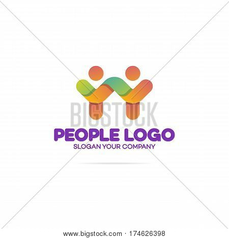 Support community logo consisting as two people with hands up for use teamwork, social logo, partnership, communication and family logo