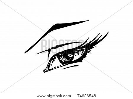 Vector black and white hand drawn illustration of woman eye in comics style. Isolated on white background