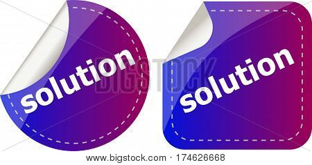 Solution Stickers Set, Icon Button Isolated On White