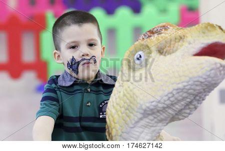 TUCSON, ARIZONA, FEBRUARY 20. The Tucson Expo Center on February 20, 2017, in Tucson, Arizona. A Kiddie Dinosaur Ride at T-Rex Planet at the Tucson Expo Center in Tucson, Arizona.