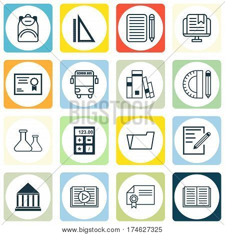 Set Of 16 Education Icons. Includes Document Case, Education Center, E-Study And Other Symbols. Beautiful Design Elements.