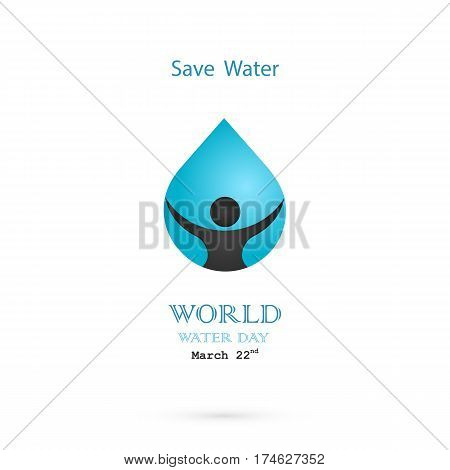 Water drop with human icon vector logo design template.World Water Day idea campaign for greeting card and poster.Vector illustration