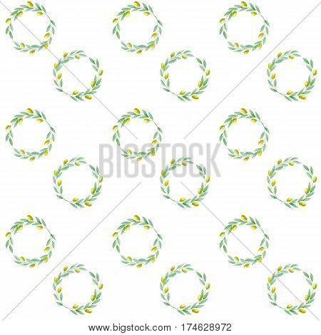 Watercolor hand drawn circle olive branch on white background