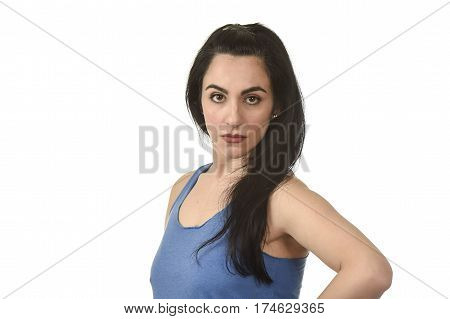 young attractive and angry woman looking serious and upset annoyed and dissatisfied isolated on white background