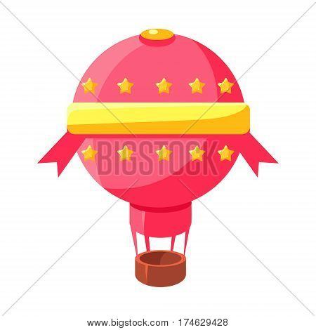 Pink Hot Air Baloon Aircraft, Fairy Tale Candy Land Fair Landscaping Element In Childish Colorful Design Isolated Object. Sweet landscape Clipart Item In Bright Color Vector Illustration.