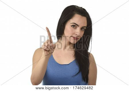 young attractive and angry woman looking serious and upset annoyed and dissatisfied denying and saying no with finger gesture isolated on white background