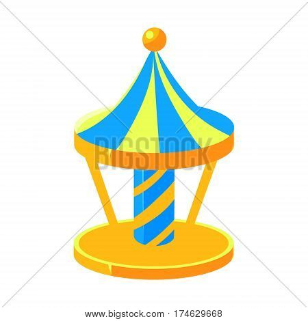 Blue And Yello Merry-Go-Round, Fairy Tale Candy Land Fair Landscaping Element In Childish Colorful Design Isolated Object. Sweet landscape Clipart Item In Bright Color Vector Illustration.