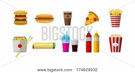 Vector icons sweet fast food elements. Restaurant breakfast menu isolated symbols. Cake design kitchen beverage dinner and dessert different meal.