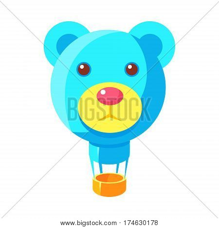 Blue Jelly Bear Head Shaped Hot Air Balloon, Fairy Tale Candy Land Fair Landscaping Element In Childish Colorful Design Isolated Object. Sweet landscape Clipart Item In Bright Color Vector Illustration.