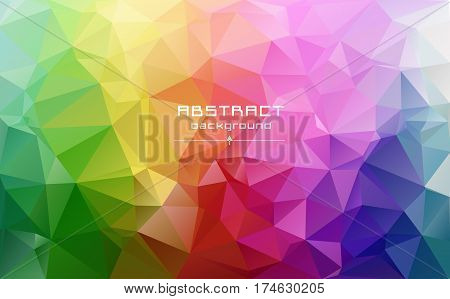 Abstract Low Poly Triangles Background. Futuristic Pattern. Red, Blue, Yellow, Green. Light To Dark,