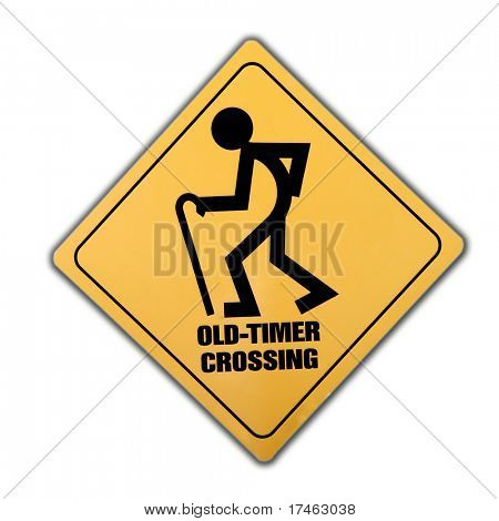 Isolated Sign Old Timer Crossing on White