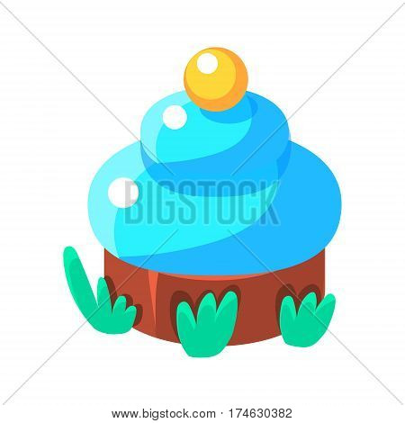 Chocolate Cupcake With Blue Icing, Fairy Tale Candy Land Fair Landscaping Element In Childish Colorful Design Isolated Object. Sweet landscape Clipart Item In Bright Color Vector Illustration.