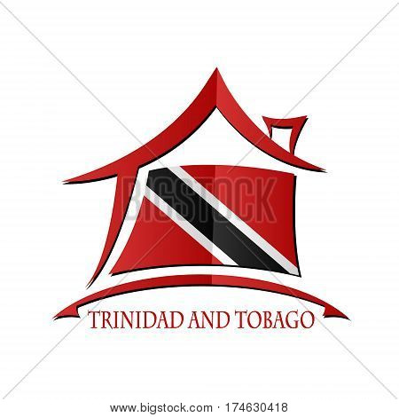 House icon made from the flag of Trinidad and Tobago