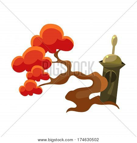 Red Tree And Stupa Tomb, Bonsai Miniature Traditional Japanese Garden Landscape Element Vector Illustration. Japan Culture Mini Plant Growing Art Isolated Landscaping Item