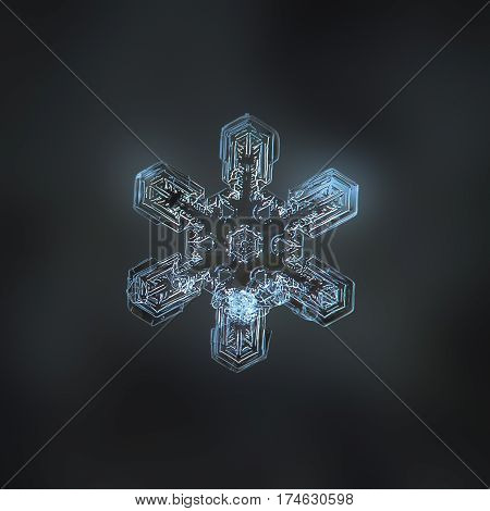 Macro photo of real snowflake: large snow crystal of stellar dendrite type with simple shape and short straight arms, but complex and beautiful inner pattern, glittering on dark gray blur background.