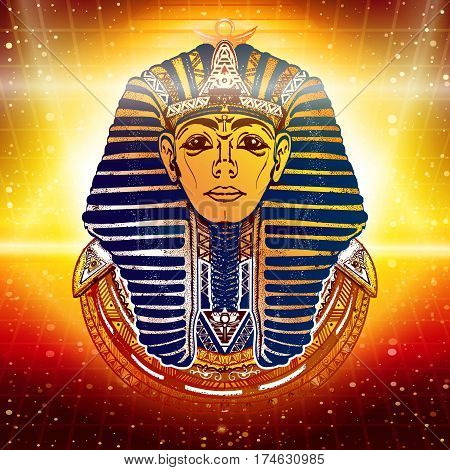 Gold Pharaoh ancient Egypt esoteric background. Egypt pharaoh Tutankhamen golden mask. Egyptian god ethnic style vector