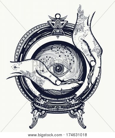 Fortune teller tattoo crystal ball in their hands. Foretelling the future magic symbol t-shirt design and tattoo art. All seeing eye hands witches fortune telling tattoo