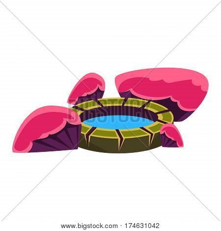 Pink And Purple Rocks Around Small Well, Bonsai Miniature Traditional Japanese Garden Landscape Element Vector Illustration. Japan Culture Mini Plant Growing Art Isolated Landscaping Item
