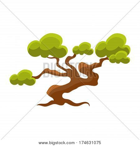 Green Pine Tree Bonsai Miniature Traditional Japanese Garden Landscape Element Vector Illustration. Japan Culture Mini Plant Growing Art Isolated Landscaping Item