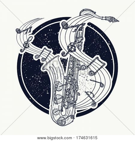 Notes take off from a saxophone musical tattoo. Music art. T-shirt design. Sax and notes tattoo idea