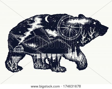 Bear double exposure tattoo art. Tourism symbol adventure great outdoor. Mountains compass. Bear grizzly silhouette t-shirt design