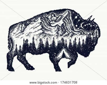 Bison tattoo art. Buffalo bull travel symbol adventure tourism. Mountain forest night sky. Magic tribal bison double exposure animals