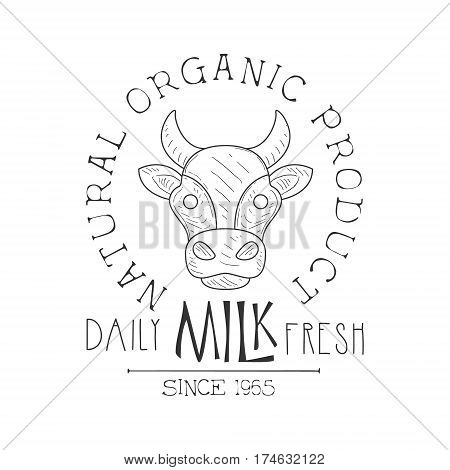 Fresh Milk Product Promo Sign In Sketch Style With Cows Head , Design Label Black And White Template. Monochrome Hand Drawn Promotional Farm Product Poster Print Vector Illustration.