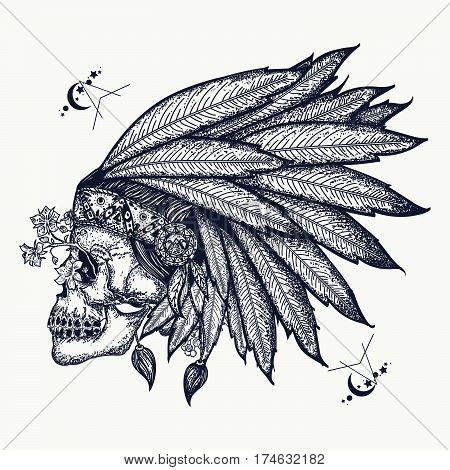 Indian skull tattoo art. Warrior symbol. Native American indian feather headdress with human skull t-shirt design