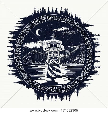 Lighthouse on the mountain lake tattoo art. Symbol of travel tourism meditation adventures great outdoors. Beacon on the mountain lake landscape t-shirt design hipster style