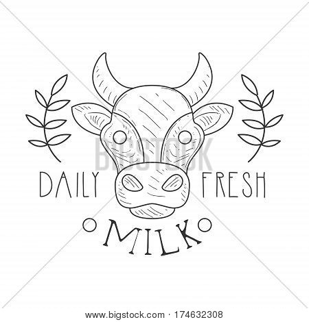 Fresh Milk Product Promo Sign In Sketch Style With Cow And Plant Branches, Design Label Black And White Template. Monochrome Hand Drawn Promotional Farm Product Poster Print Vector Illustration.