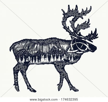 Reindeer tattoo art. Symbol tourism travel far north. Mountains polar light celtic pattern. Reindeer double exposure animals t-shirt design