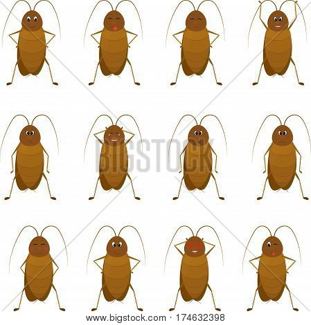 set emotion funny brown cartoon cockroach with antenna, isolated on a white background. Standing cartoon insect.