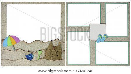 Beach Theme Square Scrapbook Template-Insert your Photos!