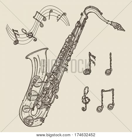 Saxophone and music notes vintage hand drawn illustration. Classical saxophone drawing graphic
