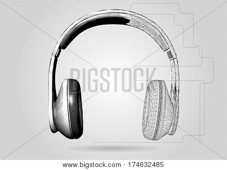 headphones. Vector low poly headphone on gray background