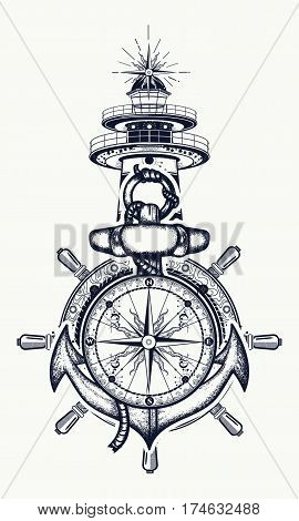 Anchor steering wheel compass lighthouse tattoo art. Symbol of maritime adventure tourism travel. Old anchor and lighthouse t-shirt design