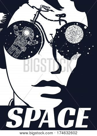 Space woman tattoo. Symbol of tourism travel surreal graphics. Cybernetic girl. Astronaut in the wheels of the bicycle