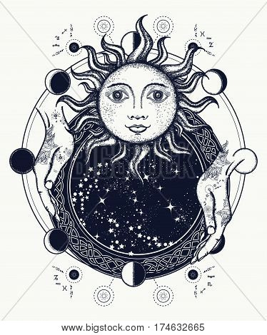 Magic mirror tattoo art. Antique sun fortune teller hands lunar phases. Symbol of magic mystery esoterics. Sun and lunar phases medieval t-shirt design