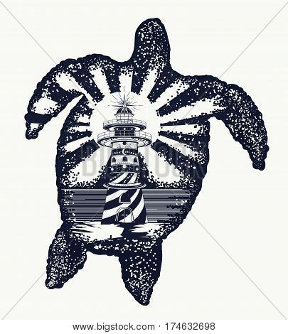 Turtle tattoo art. Symbol of tropical travel adventure surf. Lighthouse on edge of cliff. Sea turtle double exposure animals t-shirt design